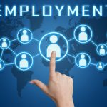 Employment concept with hand pressing social icons on blue world map background.
